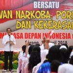 Presiden Jokowi Ajak Generasi Muda Jauhi Narkoba dan Tindak Kekerasan