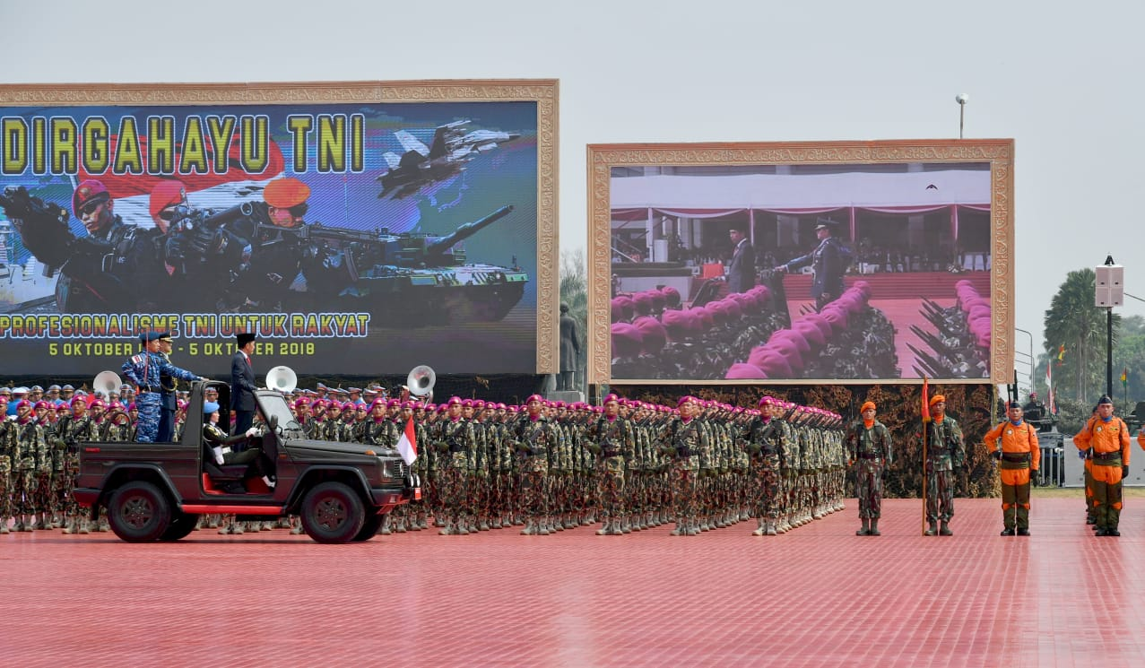 Presiden Jokowi Pimpin Upacara Peringatan HUT ke 73 TNI