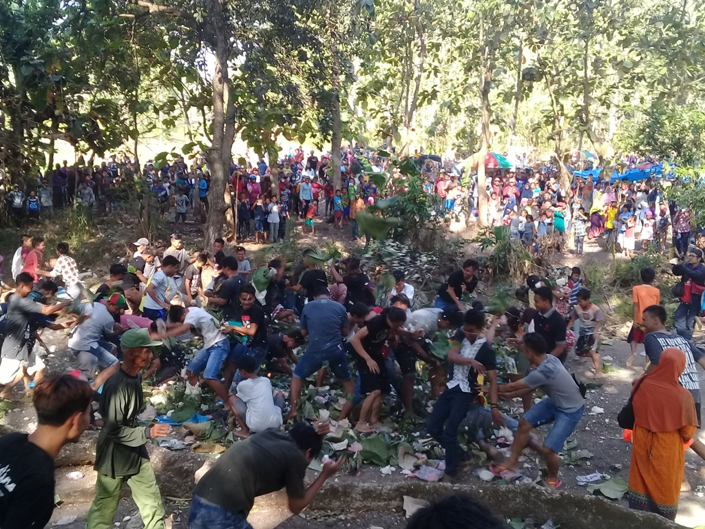 Warga Ngawi Ikuti Ritual Perang Lempar Nasi Pasca Panen Melimpah