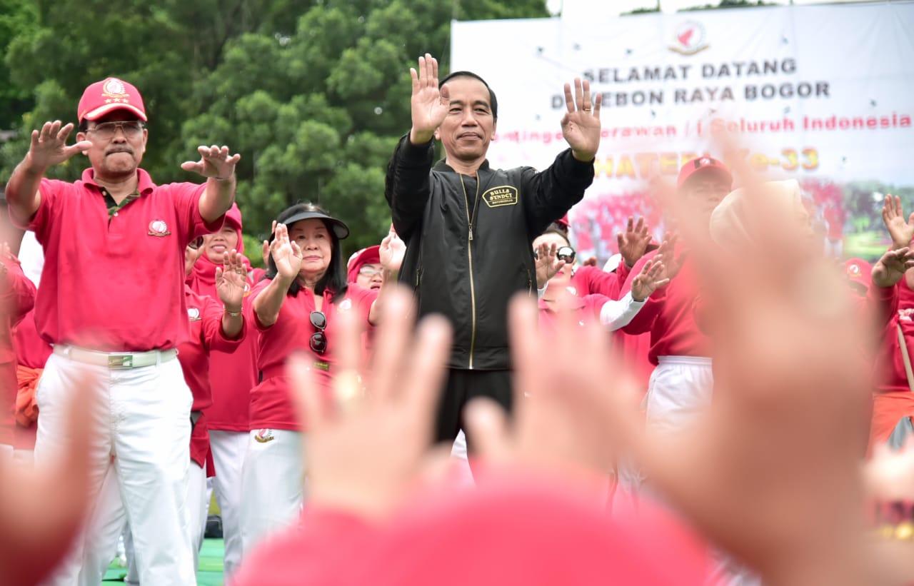 Presiden Senam Bersama Pada HUT Senam Tera Indonesia Ke-33 di Bogor