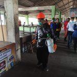 Penyemprotan Disinfektan di Sejumlah Pasar Tradisional Kediri