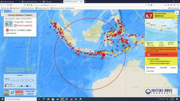 Gempa 6,7 Skala Richter Guncang Malang