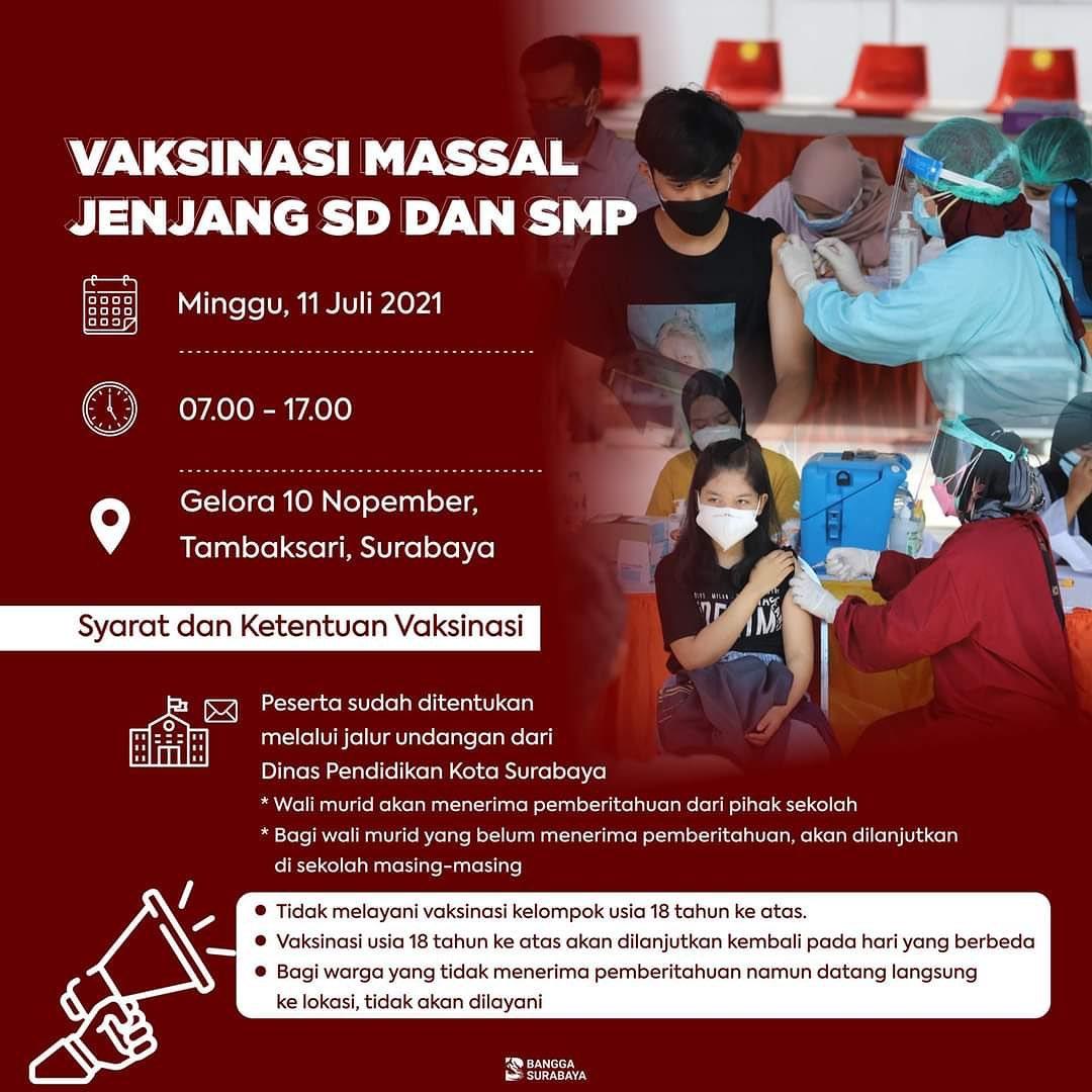 Besok, Surabaya Gelar Vaksinasi Massal Jenjang SD dan SMP